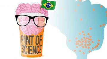Logo do festival Pint of Science. No lado esquerdo, há um copo de cerveja, com um cérebro em sua parte superior, usando óculos e uma pequena bandeira do Brasil. No lado direito, há um mapa do Brasil em azul com marcação das cidades em que ocorrerá o festival por meio de círculos laranja.